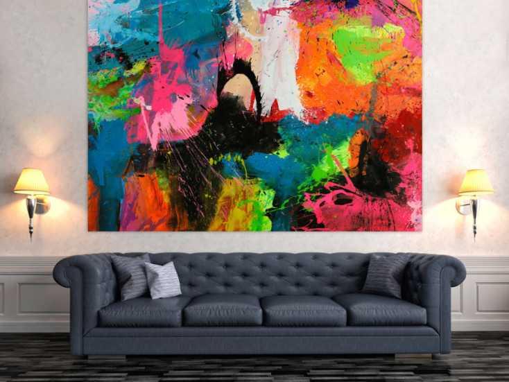 #1753 Gemälde Original abstrakt 150x200cm Action Painting Neon Farben sehr ... 150x200cm von Alex Zerr