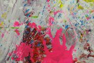 Detailaufnahme Gemälde Original abstrakt 120x200cm Action Painting expressionistisch handgemalt Splash Art sehr bunt hochwertig