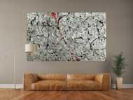 Abstraktes Original Gemälde 120x200cm Minimalistisch zeitgenössisch handgemalt Action Painting grau weiß anthrazit Unikat