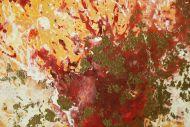 Detailaufnahme Gemälde Original abstrakt 70x70cm Action Painting zeitgenössisch auf Leinwand Mischtechnik rot orange beige hochwertig
