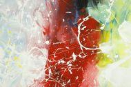 Detailaufnahme Gemälde Original abstrakt 150x150cm Action Painting Modern Art handgemalt  weiß braun rot Unikat