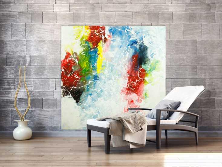 #1760 Gemälde Original abstrakt 150x150cm Action Painting Modern Art ... 150x150cm von Alex Zerr