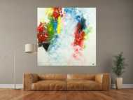 Gemälde Original abstrakt 150x150cm Action Painting Modern Art handgemalt  weiß braun rot Unikat