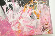 Detailaufnahme Gemälde Original abstrakt 120x180cm Action Painting Moderne Kunst handgemalt  schwarz anthrazit bunt hochwertig