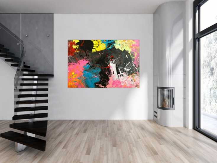 #1761 Gemälde Original abstrakt 120x180cm Action Painting Moderne Kunst ... 120x180cm von Alex Zerr