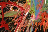 Detailaufnahme Original Gemälde abstrakt 120x100cm Action Painting Modern Art auf Leinwand Mischtechnik sehr bunt Einzelstück
