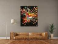 Original Gemälde abstrakt 120x100cm Action Painting Modern Art auf Leinwand Mischtechnik sehr bunt Einzelstück