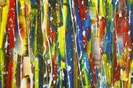 Detailaufnahme Abstraktes Original Gemälde 100x210cm Action Painting zeitgenössisch handgefertigt sehr bunt Unikat
