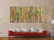 Abstraktes Original Gemälde 100x210cm Action Painting zeitgenössisch handgefertigt sehr bunt Unikat