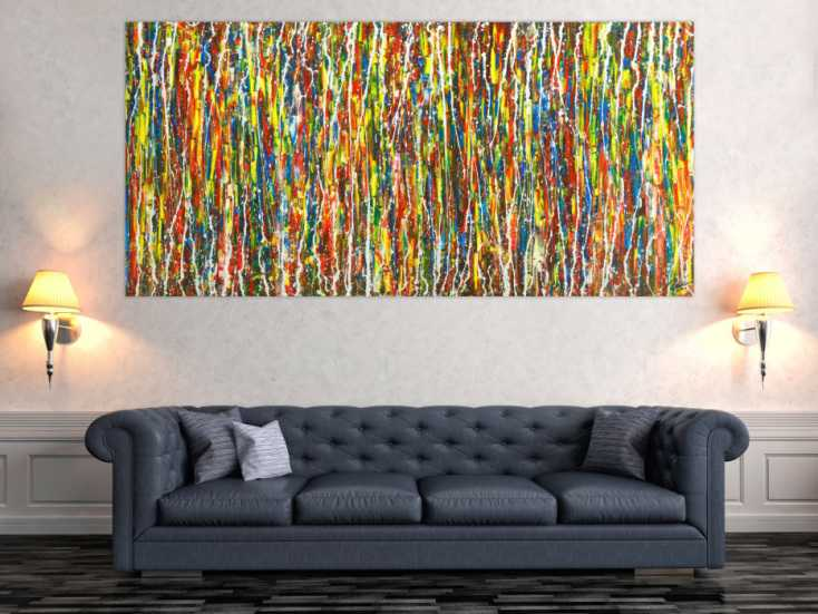 #1765 Abstraktes Original Gemälde 100x210cm Action Painting ... 100x210cm von Alex Zerr