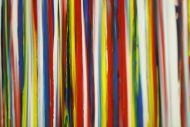 Detailaufnahme Gemälde Original abstrakt 100x200cm Spachteltechnik zeitgenössisch auf Leinwand bunte Streifen schwarz Unikat