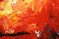 Detailaufnahme Gemälde Original abstrakt 80x150cm Action Painting Modern Art handgefertigt  rot gelb orange einzigartig