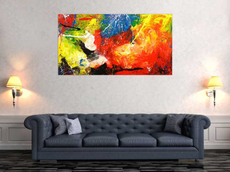 #1767 Gemälde Original abstrakt 80x150cm Action Painting Modern Art ... 80x150cm von Alex Zerr