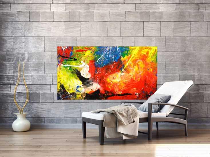 #1767 Gemälde Original abstrakt 80x150cm Action Painting Modern Art ... 80x150cm von Alex Zerr