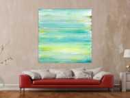Gemälde Original abstrakt 140x140cm Mischtechnik Moderne Kunst auf Leinwand Fluid Painting weiß türkis beige Einzelstück