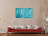 Original Gemälde abstrakt 70x120cm Spachteltechnik zeitgenössisch handgemalt  hellblau türkis anthrazit hochwertig
