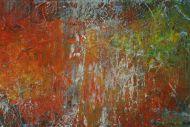 Detailaufnahme Gemälde Original abstrakt 40x150cm Spachteltechnik expressionistisch handgemalt bunte Farben Einzelstück