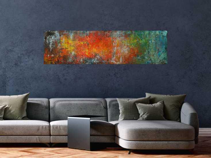 #1771 Gemälde Original abstrakt 40x150cm Spachteltechnik expressionistisch ... 40x150cm von Alex Zerr