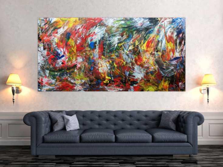 #178 Abstraktes Wanbild Acrylgemälde modern 100x200cm von Alex Zerr