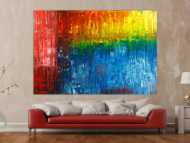 Gemälde Original abstrakt 150x220cm Spachteltechnik Modern Art handgemalt  rot blau schwarz Unikat