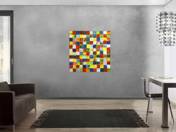 #1782 Gemälde Original abstrakt 100x100cm Spachteltechnik Modern Art ... 100x100cm von Alex Zerr