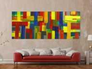 Gemälde Original abstrakt 100x250cm Mischtechnik Moderne Kunst auf Leinwand rot gelb blau grün Einzelstück