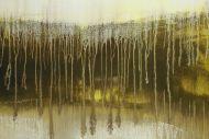 Detailaufnahme Abstraktes Original Gemälde 100x200cm Mischtechnik expressionistisch auf Leinwand  weiß beige schwarz Unikat