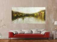 Abstraktes Original Gemälde 100x200cm Mischtechnik expressionistisch auf Leinwand  weiß beige schwarz Unikat