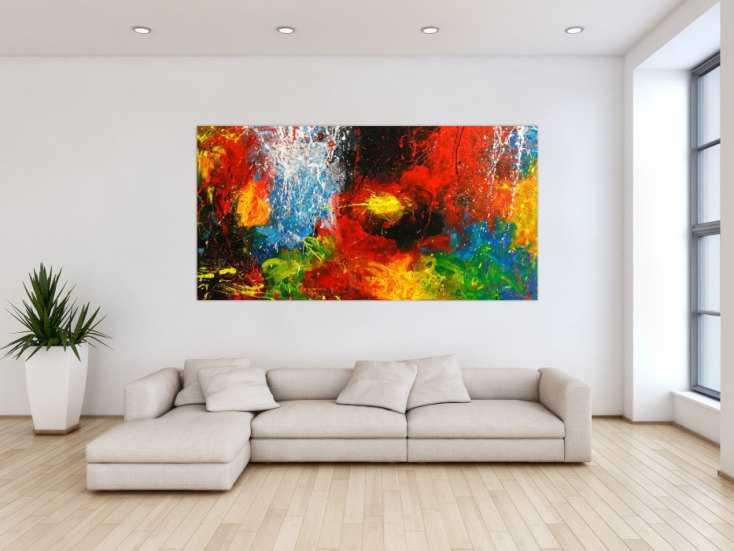 #1786 Original Gemälde abstrakt 100x200cm Action Painting ... 100x200cm von Alex Zerr