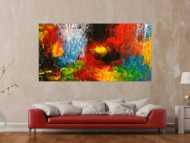 Original Gemälde abstrakt 100x200cm Action Painting expressionistisch handgemalt  schwarz rot braun Einzelstück