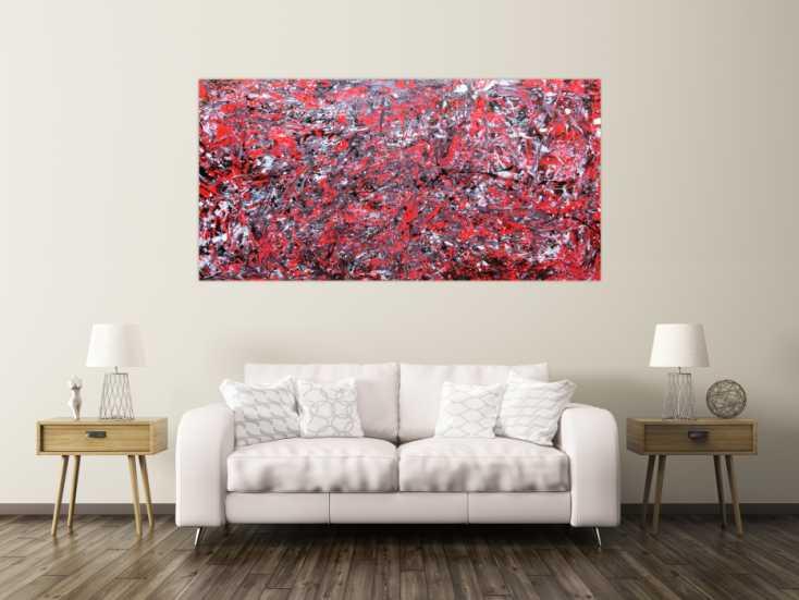 #179 Abstraktes Acrylbild modern rot 100x200cm von Alex Zerr