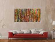 Original Gemälde abstrakt 80x160cm Spachteltechnik Moderne Kunst handgemalt Action Painting sehr bunt Einzelstück