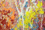 Detailaufnahme Abstraktes Original Gemälde 130x130cm Action Painting Modern Art handgemalt  braun schwarz beige Einzelstück