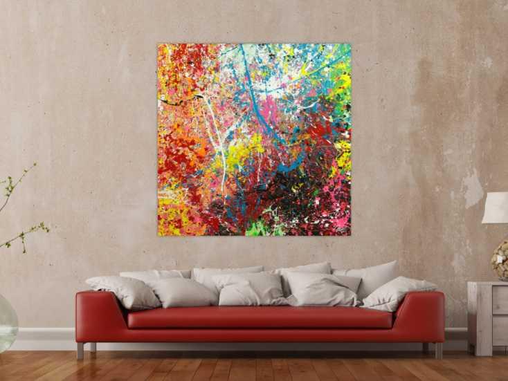 #1791 Abstraktes Original Gemälde 130x130cm Action Painting Modern Art ... 130x130cm von Alex Zerr