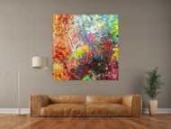 Abstraktes Original Gemälde 130x130cm Action Painting Modern Art handgemalt  braun schwarz beige Einzelstück