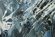Detailaufnahme Abstraktes Original Gemälde 100x160cm Action Painting Modern Art handgefertigt  anthrazit schwarz weiß Einzelstück