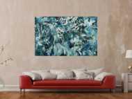 Abstraktes Original Gemälde 100x160cm Action Painting Modern Art handgefertigt  anthrazit schwarz weiß Einzelstück