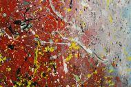 Detailaufnahme Original Gemälde abstrakt 70x160cm Action Painting expressionistisch handgefertigt  anthrazit hellblau rot rosa Unikat