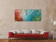 Original Gemälde abstrakt 70x160cm Action Painting expressionistisch handgefertigt  anthrazit hellblau rot rosa Unikat