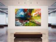 Gemälde Original abstrakt 200x300cm Action Painting expressionistisch handgefertigt sehr bunt Unikat einzigartig