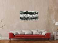 Original Gemälde abstrakt 55x110cm Action Painting Modern Art handgemalt  schwarz weiß Unikat