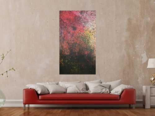 Abstraktes Acrylbild modern dunkle Farben schwarz rot