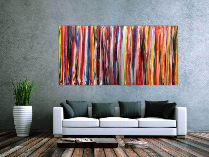 abstraktes wandbild acryl modern bunt auf leinwand 100x200cm. Black Bedroom Furniture Sets. Home Design Ideas