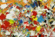 Detailaufnahme Abstraktes Original Gemälde 50x50cm Mischtechnik Moderne Kunst auf Leinwand sehr bunt orange einzigartig