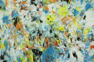 Detailaufnahme Abstraktes Original Gemälde 50x50cm Mischtechnik Moderne Kunst auf Leinwand sehr bunt türkis Einzelstück