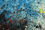 Detailaufnahme Abstraktes Original Gemälde 80x200cm  expressionistisch handgefertigt  türkis weiß schwarz Unikat