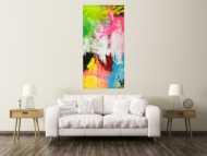 Gemälde Original abstrakt 160x80cm  zeitgenössisch handgefertigt  weiß gelb hellblau Einzelstück