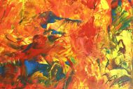 Detailaufnahme Original Gemälde abstrakt 100x250cm  Modern Art handgemalt  rot gelb blau hochwertig