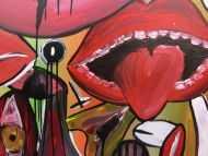 Detailaufnahme Abstraktes Gemälde modern Gesichter und Augen