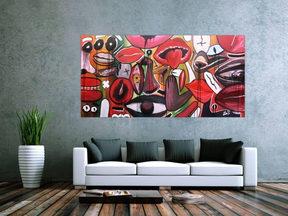 Abstraktes Gemälde Modern Gesichter Und Augen Handgemalt Auf Leinwand In  100x200cm Von Alex Zerr